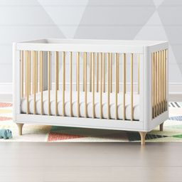 Babyletto Lolly White & Natural 3 in 1 Convertible Crib + Reviews | Crate and Barrel | Crate & Barrel