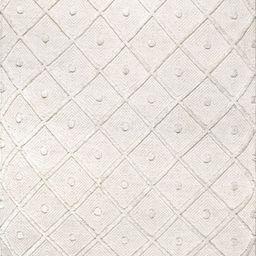 Ivory Diamond Textured Trellis Tassel Area Rug | Rugs USA