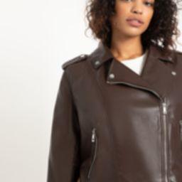 Faux Leather Moto Jacket   Eloquii
