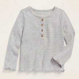 Rib-Knit Lettuce-Edged Long-Sleeve Henley for Toddler Girls   Old Navy (US)