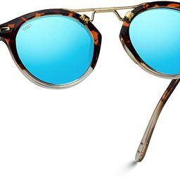 WearMe Pro - Polarized Round Vintage Retro Mirrored Lens Women Metal Frame Sunglasses | Amazon (US)