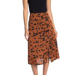 Animal Print Asymmetrical Button Satin Midi Skirt | Nordstrom Rack