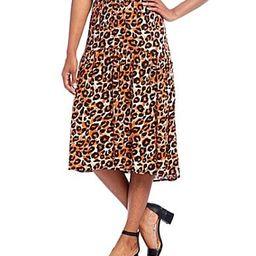 Intro Cheetah Print Challis Pull-On Hi-Low Midi Skirt - L | Dillards