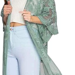 FaroDor Women's Flowy Bathing Suit Kimono Cardigan Lace Crochet Swimwear Floral Cover Ups   Amazon (US)