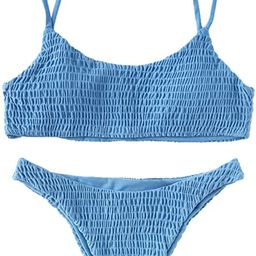 Verdusa Women's 2 Peices Bathing Suit Smocked Wireless Bikini Bandeau Top Thong Swimsuit   Amazon (US)