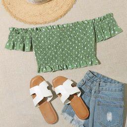 Polka Dot Shirred Crop Bardot Top | SHEIN
