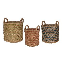 Natural Hyacinth Presley Tote Basket With Color Overlay - Small by World Market | World Market