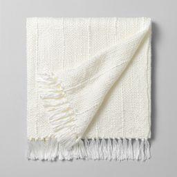 Chunky Stripe Fringe Throw Blanket Cream - Hearth & Hand with Magnolia | Target
