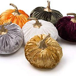 Ogrmar Set of 6 Pack Handmade Velvet Pumpkins Decor,Super Soft Stuffed Pumpkin with Exquisite Cra... | Amazon (US)