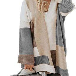 OLUOLIN Womens Color Block Cardigan Sweater Open Front Long Sleeve Loose Knit Coat | Amazon (US)