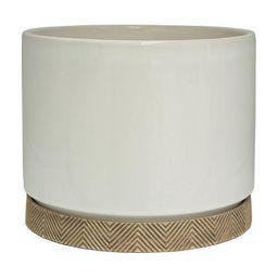 allen + roth 9.96-in W x 9.96-in H White Ceramic Planter | Lowe's