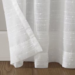Textured Slub Anti-Dust Striped Sheer Rod Pocket Single Curtain Panel | Wayfair North America