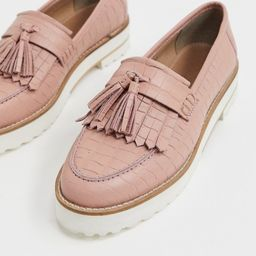 ASOS DESIGN Meze chunky fringed leather loafers in pink croc   ASOS (Global)