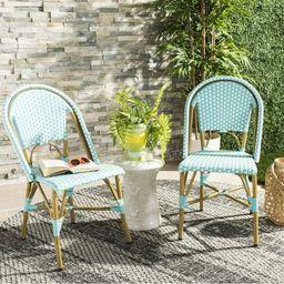 Safavieh Salcha Outdoor French Bistro Side Chair, Set of 2-Teal/White   Walmart (US)