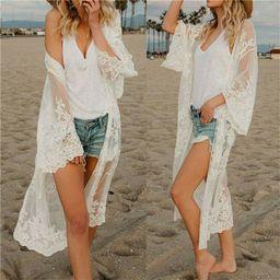 FOCUSNORM - Women Lace Kimono Blouse Coat Boho Casual Cardigan Beach Bikini Cover Up Tops - Walma... | Walmart (US)