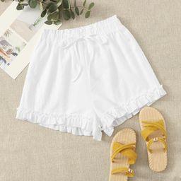 SHEIN Paperbag Waist Ruffle Hem Shorts | SHEIN