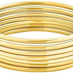 "Edforce Stainless Steel Glossy Thin Round Bangle Bracelet Set for Women, Set of 7, 7.8"" Inches | Amazon (US)"
