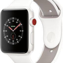 Apple Watch Edition (GPS + Cellular) 42mm White Ceramic Case with Soft White/Pebble Sport Band Wh... | Best Buy U.S.