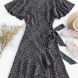 ZAFUL Ditsy Print Ruffle Butterfly Sleeve Tulip Dress | ZAFUL (Global)
