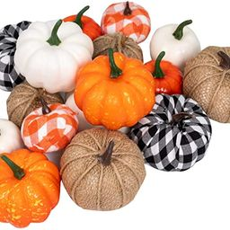 Ueerdand 16 PCS Fall Decor Artificial Pumpkins Harvest Burlap Bufflo Plaid Pumpkins Craft for Fal... | Amazon (US)