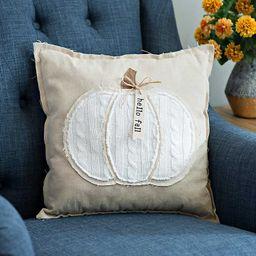 Hello Fall Cable Knit Pumpkin Pillow | Kirkland's Home