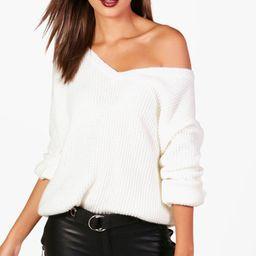 Womens Tall Oversized V Front Sweater - White - 12 | Boohoo.com (US & CA)