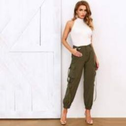 Pocket Patched Hanging Strap Detail Pants   SHEIN