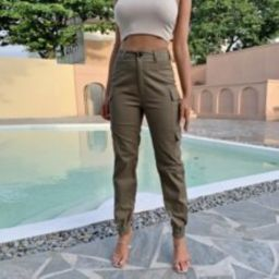 Solid Flap Pocket Cargo Pants   SHEIN