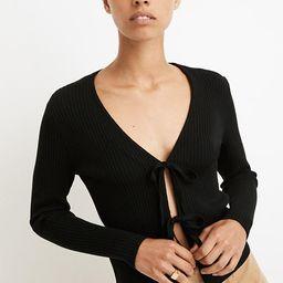Tie-Front Bellemoor Ribbed Cardigan Sweater | Madewell