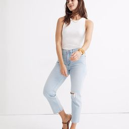 Mid-Rise Classic Straight Jeans in Wellingford Wash: Knee-Rip Edition   Madewell