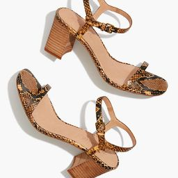 The Hollie Ankle-Strap Sandal in Snake Embossed Leather | Madewell