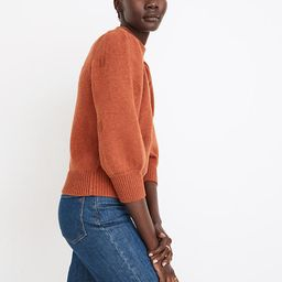 Dotted Eaton Puff-Sleeve Pullover Sweater in Cotton-Merino Yarn | Madewell