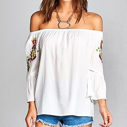 Simply Boho LA Women's Blouses WHITE - White Floral Bell-Sleeve Off-Shoulder Top - Women | Zulily