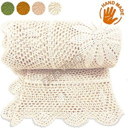 Zenviro The Boho Throw Natural 50x60 100% Hand Made Cotton Lightweight Decorative Knitted Crochet...   Amazon (US)