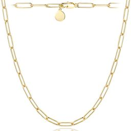 Paperclip Necklace,14K Gold Plated Oval Dainty Choker Chain Link Necklace for Women Girls   Amazon (US)