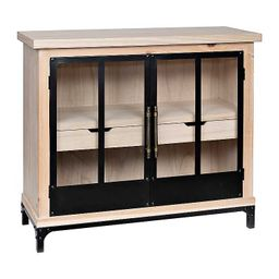 Natural Wood and Black Metal Cabinet | Kirkland's Home