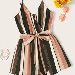 SHEIN Belted Striped Cami Romper   SHEIN