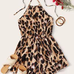 SHEIN Leopard Print Tie Back Halter Romper   SHEIN