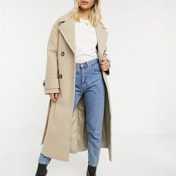 ASOS DESIGN belted luxe maxi coat in camel | ASOS (Global)