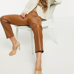 Mango faux leather trousers in brown | ASOS (Global)