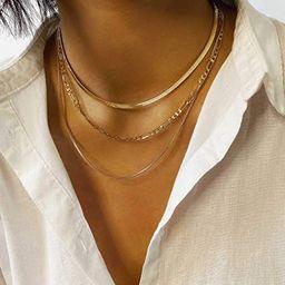 Jeairts Punk Layered Necklace Snake Bone Choker Necklaces Minimalist Necklace Chain Jewelry for W... | Amazon (US)