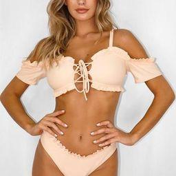 Peach Ruffle Milkmaid Bikini Top | Missguided (US & CA)