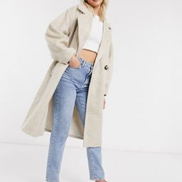 ASOS DESIGN brushed coat with sleeve detail in stone | ASOS (Global)