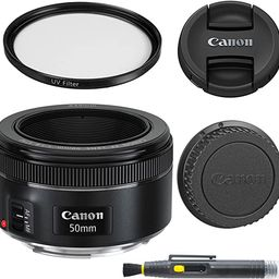 Canon EF 50mm f/1.8 STM: Lens with Glass UV Filter, Front and Rear Lens Caps, and Deluxe Cleaning... | Amazon (US)