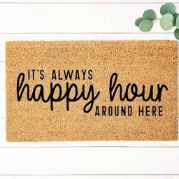Happy Hour Doormat Funny Doormat Funny Welcome Mat Beer   Etsy   Etsy (US)