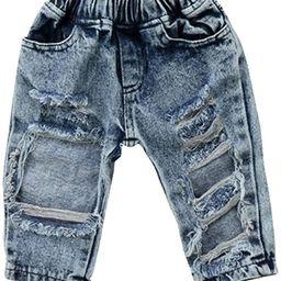 FriBabyfat Toddler Newborn Baby Boys Girls Causal Elastic Waist Destroyed Ripped Jeans Pants | Amazon (US)