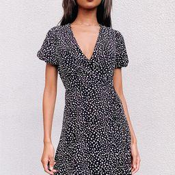 Your Favorite One Black Dot Print Puff Sleeve Wrap Mini Dress | Lulus (US)