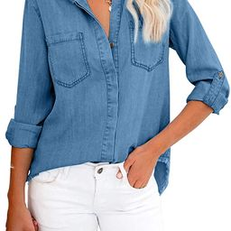 Lovezesent Womens Button Down Roll Up Long Sleeve Denim Shirts Jeans Blouses Top   Amazon (US)