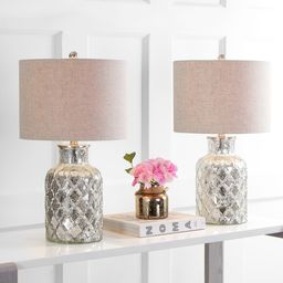 """Alvord 24.5"""" LED Glass Table Lamp, Mercury Silver (Set of 2) by JONATHAN Y (Silver) 