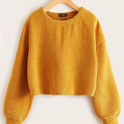 SHEIN Drop Shoulder Cord Sweatshirt | SHEIN